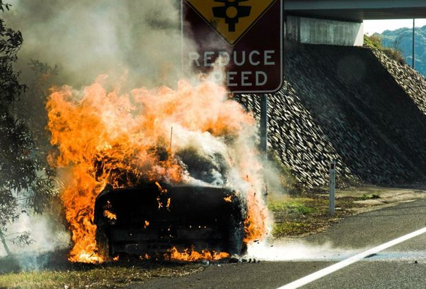 Fire swallows car on major Sunshine Coast road