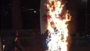Activists torch Games countdown clock over police response to Indigenous protesters