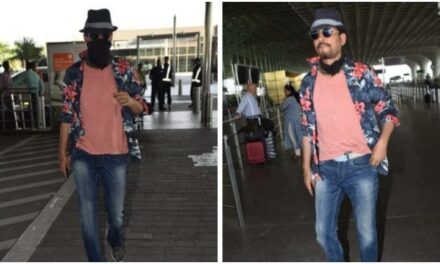 Irrfan Uncovers face for Photos at Mumbai Airport
