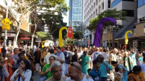 The festival filled the streets of Brisbane city with thousands of devotees