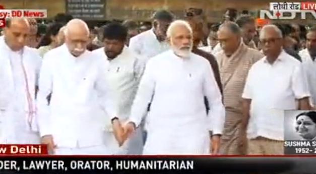 PM Modi, LK Advani Share Emotional Moment At Sushma Swaraj's Funeral
