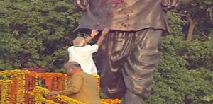 Ahmedabad: Prime Minister Narendra Modi pays floral tributes to Sardar Vallabhbhai Patel, in Ahmedabad, on May 26, 2019. Also seen BJP chief Amit Shah. (Photo: IANS)