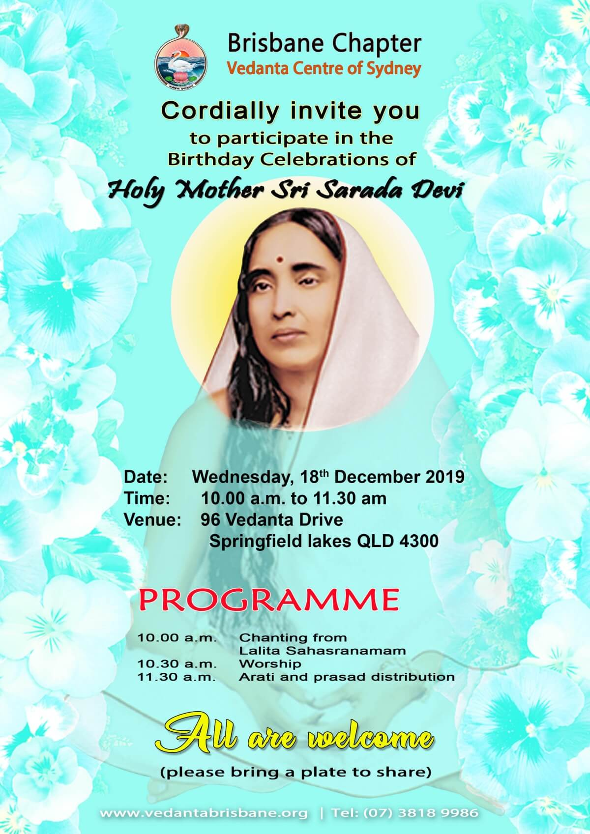 Holy Mother puja 18Dec19