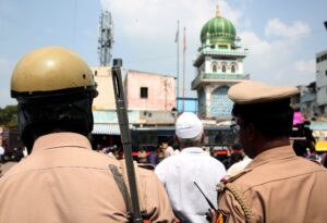 Bengaluru: Police personnel deployed outside a mosque as security has been tightened across the city and schools and colleges remain shut in view of the Supreme Court's verdict on the Ram Janmabhoomi-Babri Masjid title dispute case in Ayodhya; in Bengaluru on Nov 9, 2019. (Photo: IANS)