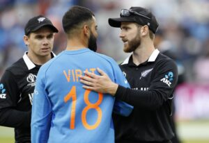 Manchester�: Indian skipper Virat Kohli congratulates New Zealand captain Kane Williamson after New Zealand won the 1st Semi-final match of 2019 World Cup against India at Old Trafford in Manchester, England on July 10, 2019. (Photo: Surjeet Kumar/IANS)