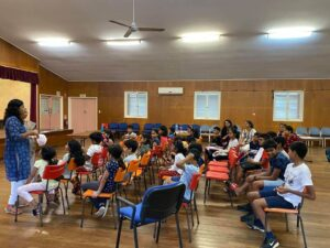 There are currently 40 kids enrolled, with six members of the community volunteering as teachers