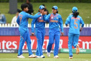 Melbourne: Indian players celebrate fall of a wicket during the ICC Women's T20 World Cup 9th match between India and New Zealand at Junction Oval in Melbourne on Feb 27, 2020. (Photo: Twitter/@T20WorldCup)