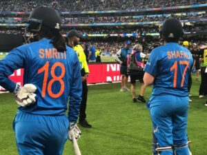 Melbourne: India's Shafali Verma and Smriti Mandhana during the Women's T20 World Cup Final match between India and Australia at Melbourne Cricket Ground (MCG) in Melbourne, Australia on March 8, 2020. (Photo: Twitter/@T20WorldCup)