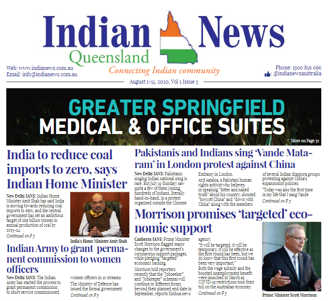 India News Queensland – August 1-15, 2020 Vol 1 Issue 3