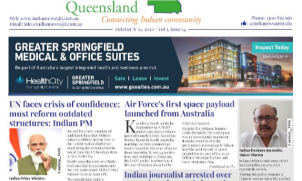 Indian News Queensland – Oct 8 -Oct 22 – Vol 3 Issue 14