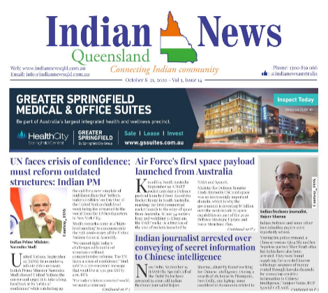 Indian News Queensland – Oct 8 -Oct 22 – Vol 3 Issue 14