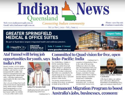 Indian News Queensland – Oct 22 -Nov 7 – Vol 3 Issue 15