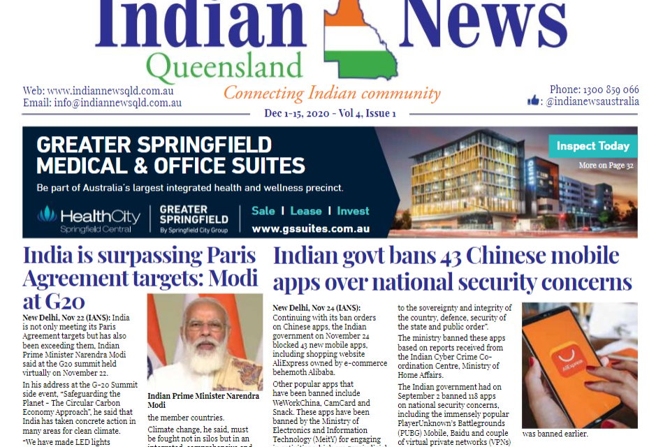 Indian News Queensland – Dec 1 -Dec 15 – Vol 4 Issue 1